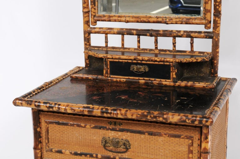 20th Century 1930s French Bamboo and Wicker Four-Drawer Commode with Upper Swivel Mirror