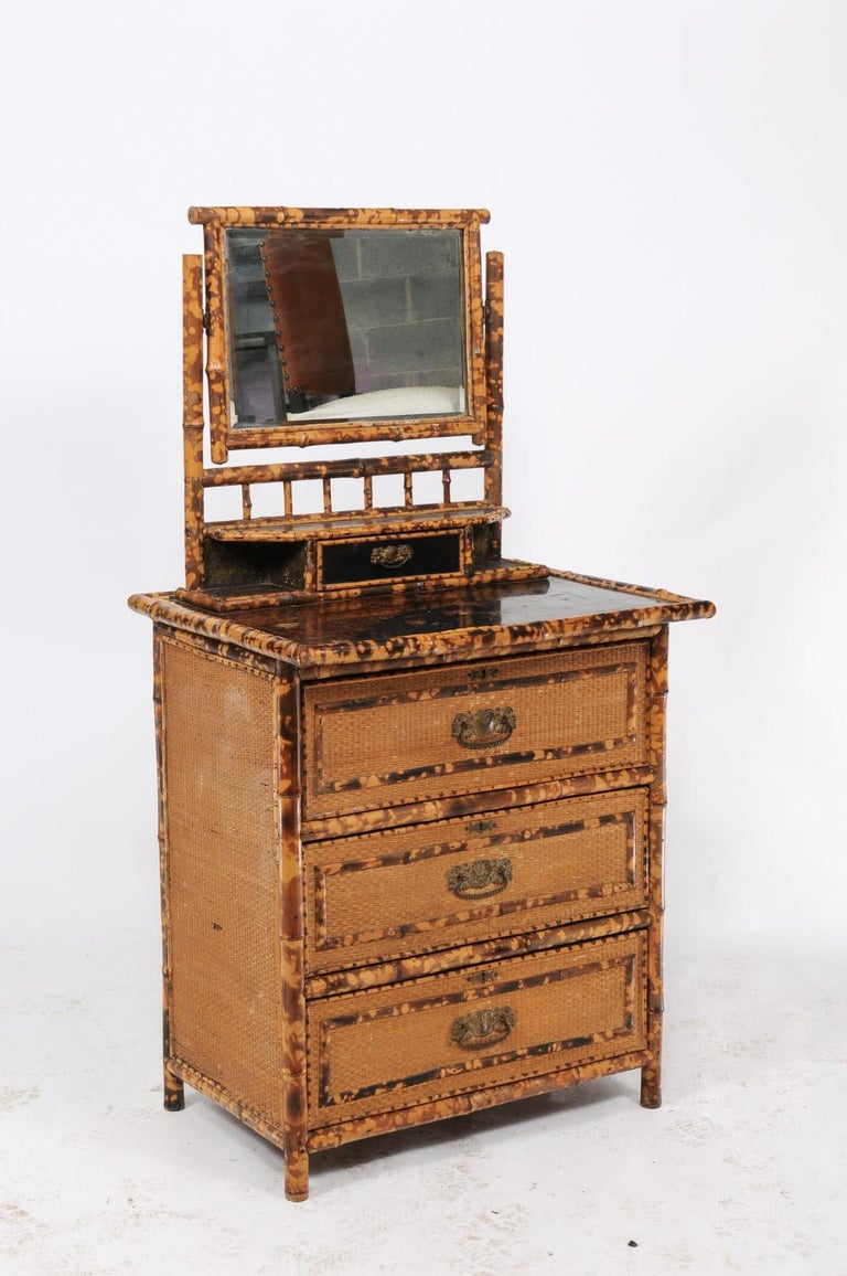 1930s French Bamboo and Wicker Four-Drawer Commode with Upper Swivel Mirror 1