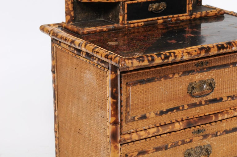 1930s French Bamboo and Wicker Four-Drawer Commode with Upper Swivel Mirror 2