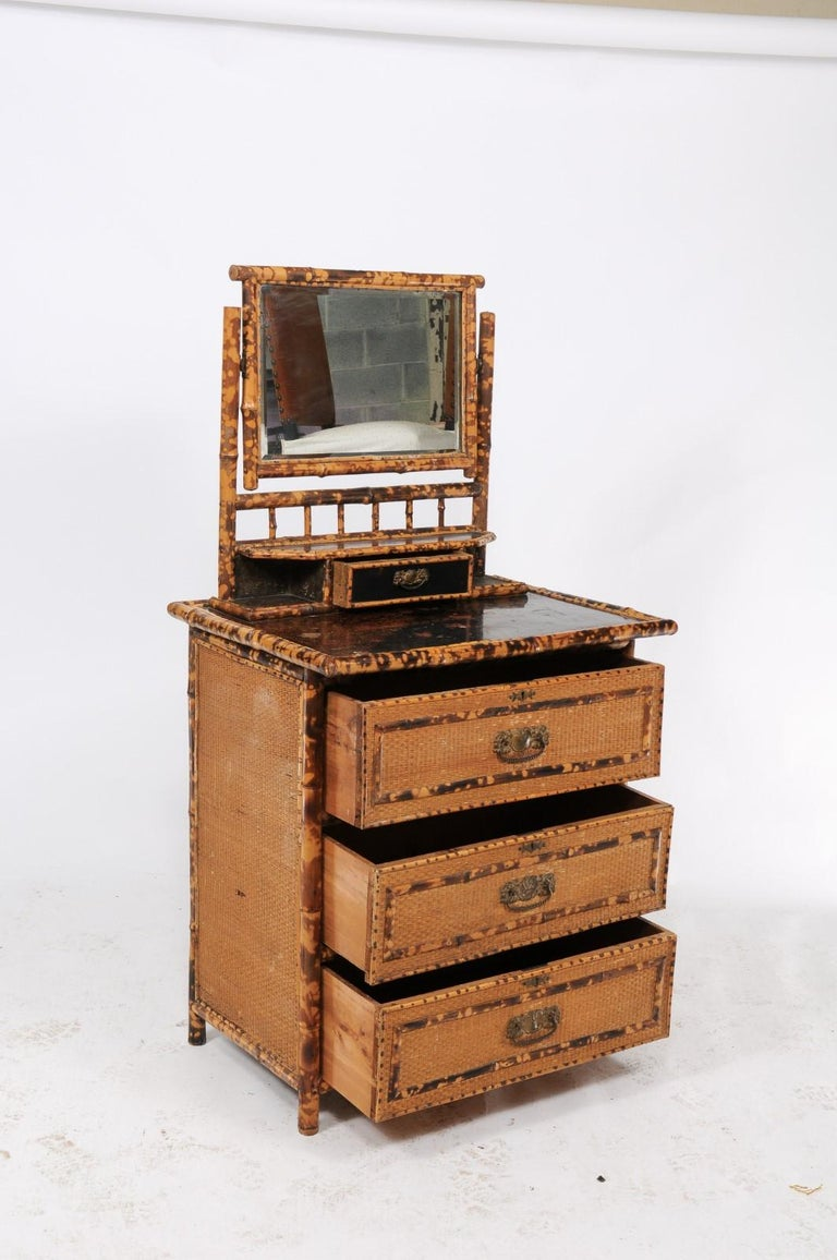 1930s French Bamboo and Wicker Four-Drawer Commode with Upper Swivel Mirror 3