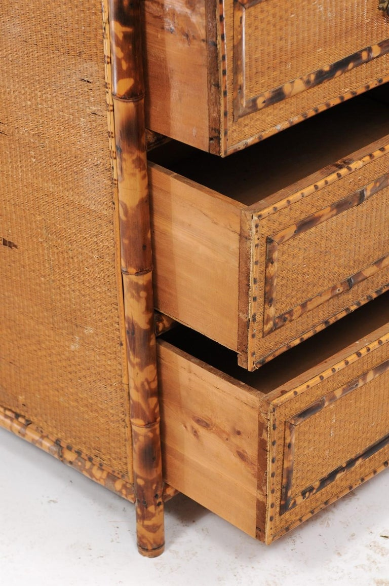 1930s French Bamboo and Wicker Four-Drawer Commode with Upper Swivel Mirror 4