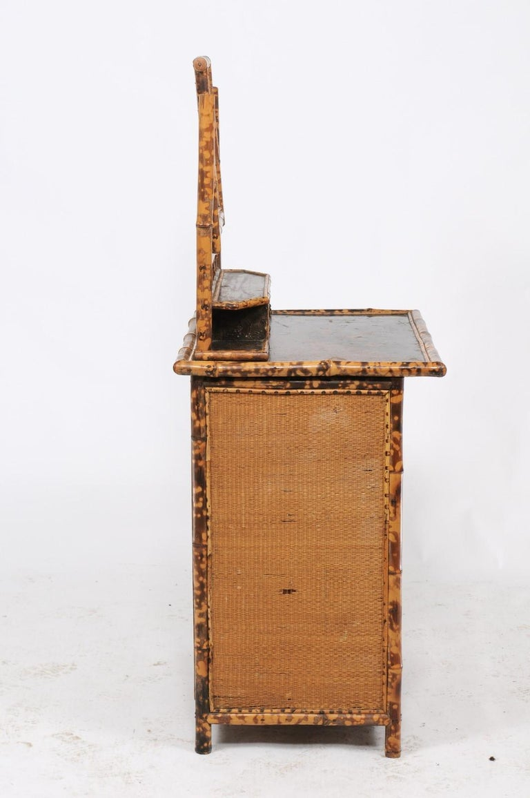 1930s French Bamboo and Wicker Four-Drawer Commode with Upper Swivel Mirror 5