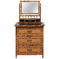 1930s French Bamboo and Wicker Four-Drawer Commode with Upper Swivel Mirror