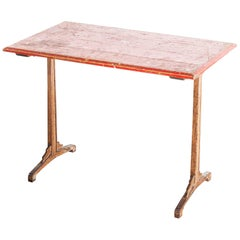 1930s French Bistro Dining Table, Red Top