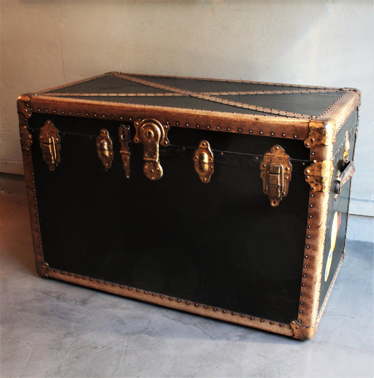 Steamer Trunk in Black Canvas with Beige Trim / Console Table, France, 1930s For Sale 4