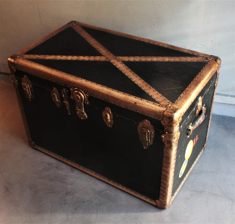 Steamer Trunk in Black Canvas with Beige Trim / Console Table, France, 1930s For Sale 5