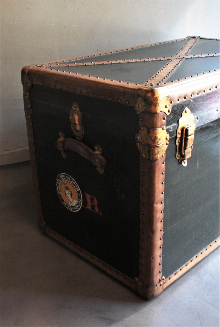 Steamer Trunk in Black Canvas with Beige Trim / Console Table, France, 1930s For Sale 6
