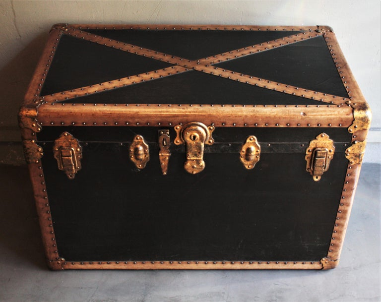 Art Deco Steamer Trunk in Black Canvas with Beige Trim / Console Table, France, 1930s For Sale