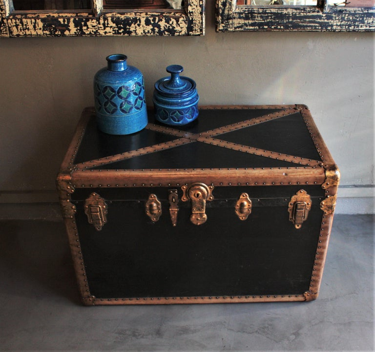 French Steamer Trunk in Black Canvas with Beige Trim / Console Table, France, 1930s For Sale