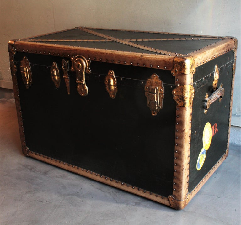 Steamer Trunk in Black Canvas with Beige Trim / Console Table, France, 1930s In Good Condition For Sale In Barcelona, ES