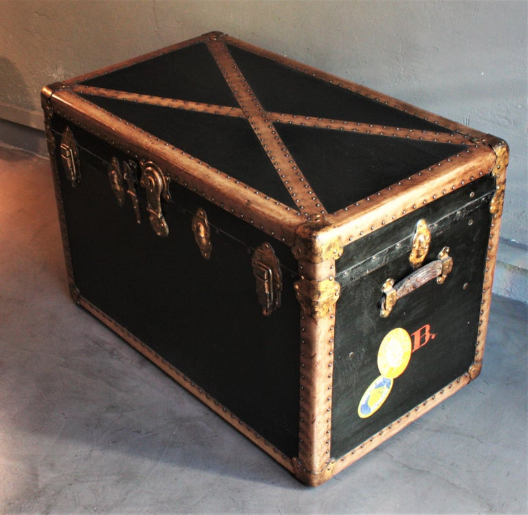 Leather Steamer Trunk in Black Canvas with Beige Trim / Console Table, France, 1930s For Sale