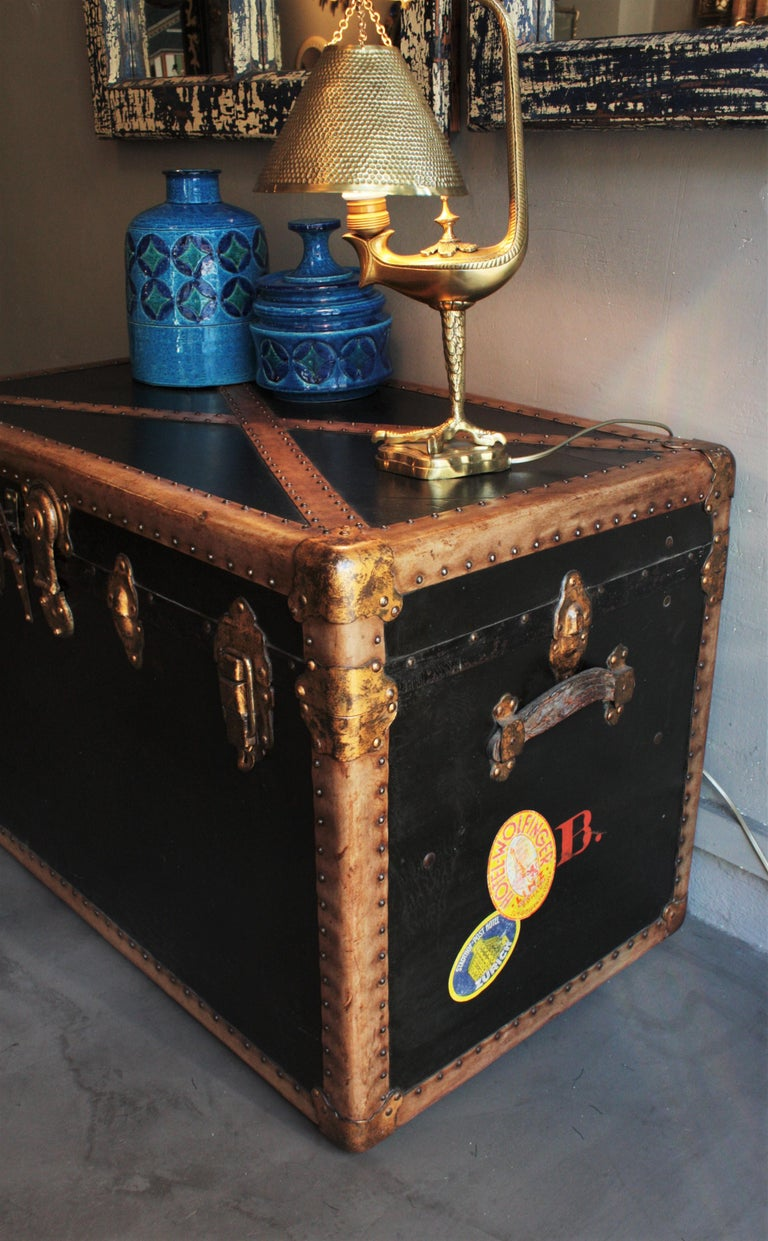 Steamer Trunk in Black Canvas with Beige Trim / Console Table, France, 1930s For Sale 1