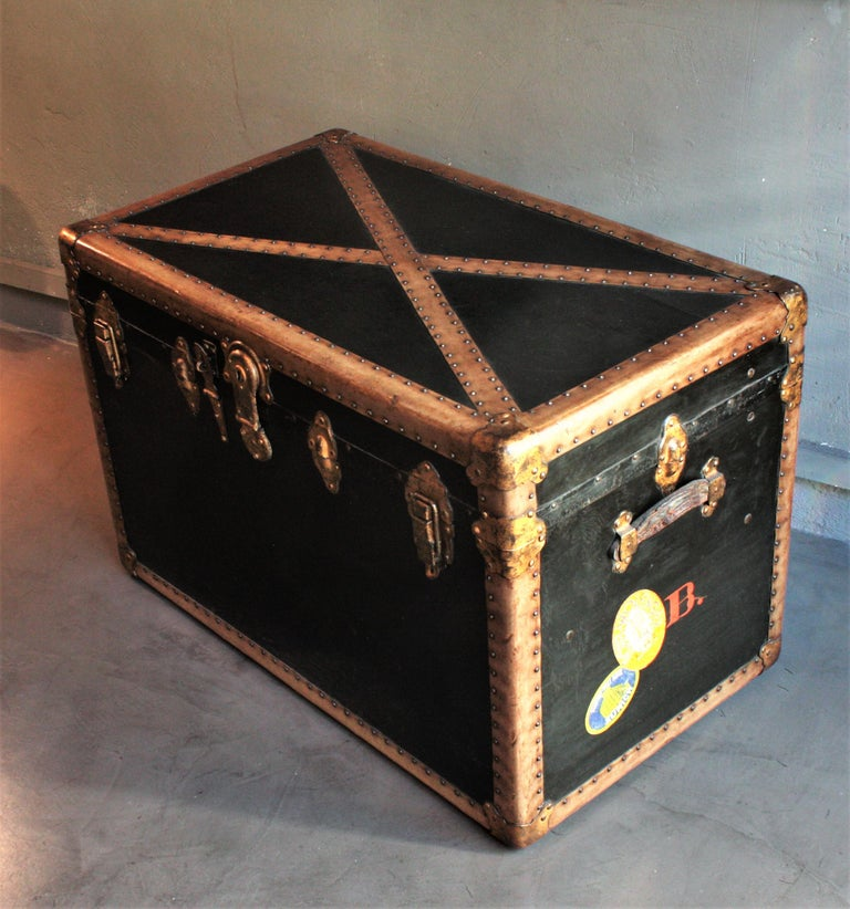 Steamer Trunk in Black Canvas with Beige Trim / Console Table, France, 1930s For Sale 2