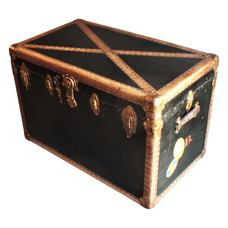 Steamer Trunk in Black Canvas with Beige Trim / Console Table, France, 1930s For Sale