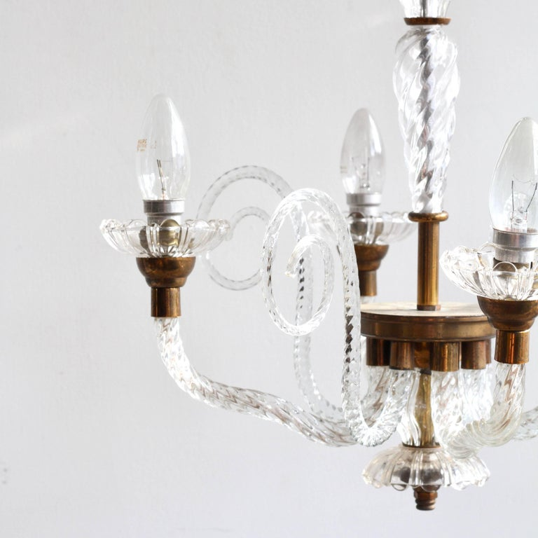 1930s French Brass and Glass Chandelier For Sale 6