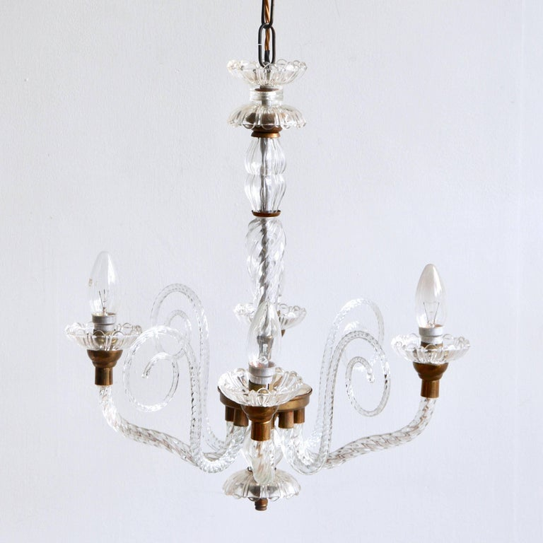 1930s French Brass and Glass Chandelier In Good Condition For Sale In Stockport, GB