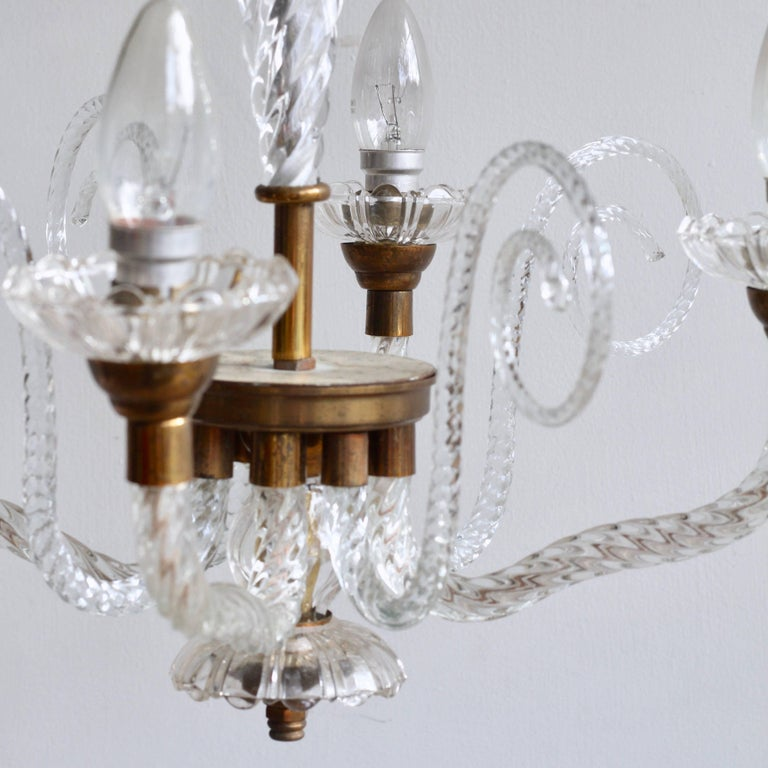 1930s French Brass and Glass Chandelier For Sale 1