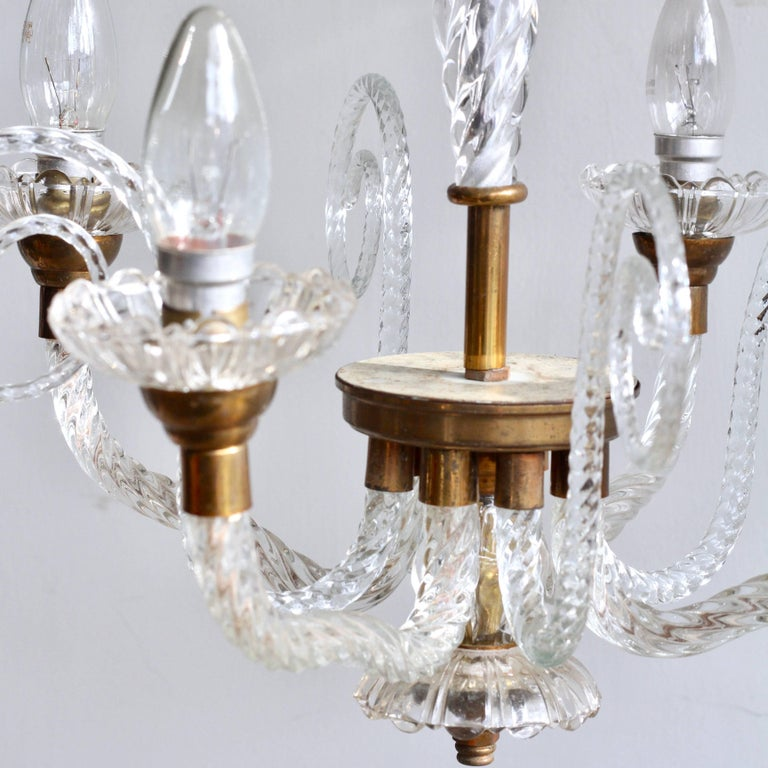 1930s French Brass and Glass Chandelier For Sale 2