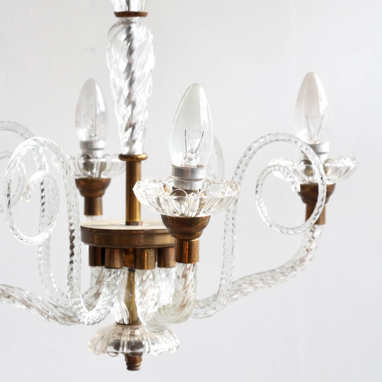 1930s French Brass and Glass Chandelier For Sale 4