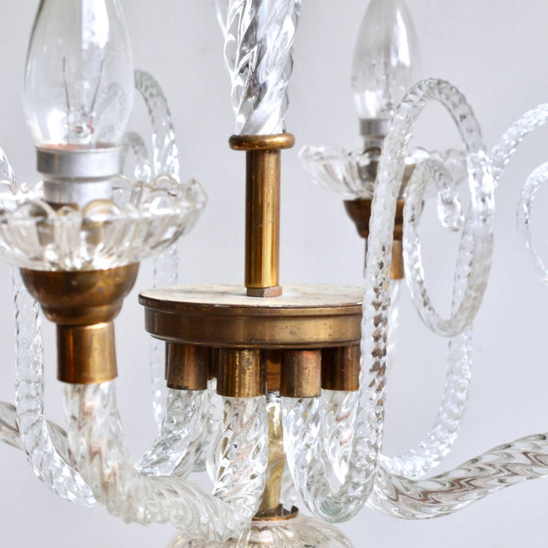 1930s French Brass and Glass Chandelier For Sale 5
