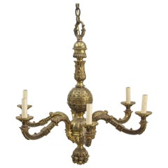 1930s French Cast Bronze Floral Chandelier Six Arms with Intricate Detail