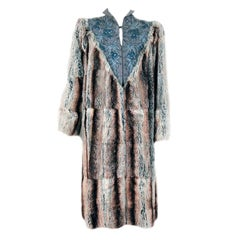1930's French Couture Beaded Embroidered Novelty Gabardine & Chinchilla Fur Coat