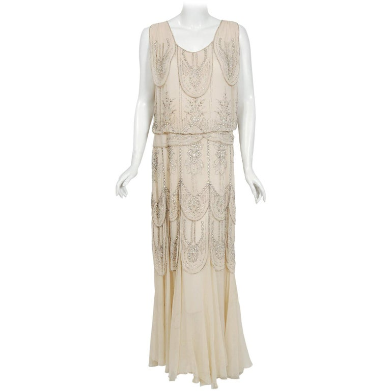 1930's French Couture Creme Silk-Chiffon Beaded Rhinestone Scalloped Deco Gown For Sale