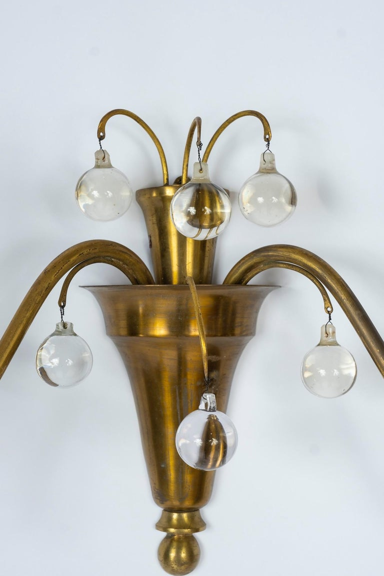 Art Deco 1930s French Deco Brass and Glass Sconces For Sale