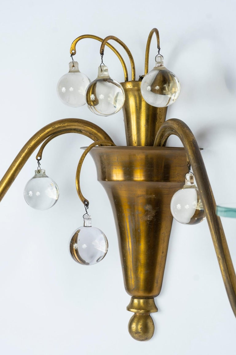 1930s French Deco Brass and Glass Sconces For Sale 2