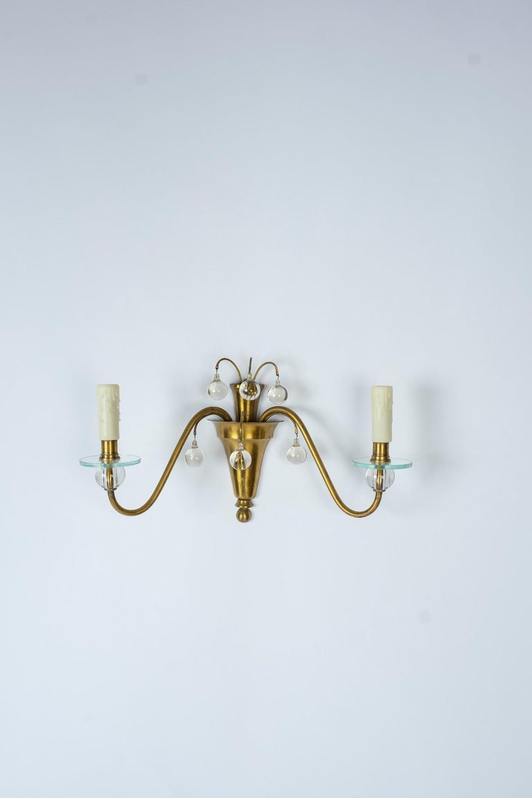 1930s French Deco Brass and Glass Sconces In Good Condition For Sale In Houston, TX
