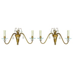 1930s French Deco Brass and Glass Sconces
