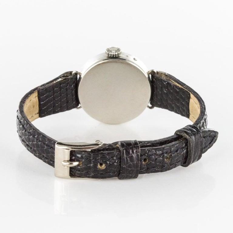 1930s Art Deco French Diamond Platinum Mechanical Ladies Watch For Sale 5