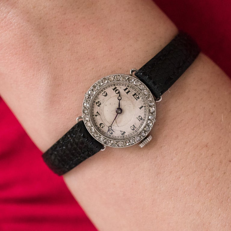 1930s Art Deco French Diamond Platinum Mechanical Ladies Watch For Sale 6
