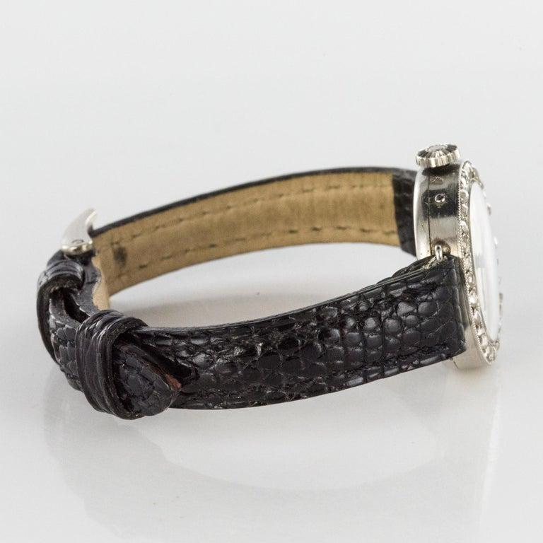 1930s Art Deco French Diamond Platinum Mechanical Ladies Watch For Sale 7
