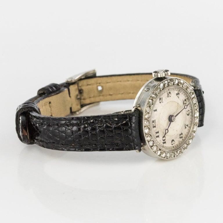 1930s Art Deco French Diamond Platinum Mechanical Ladies Watch For Sale 8
