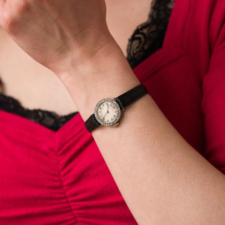 1930s Art Deco French Diamond Platinum Mechanical Ladies Watch For Sale 9