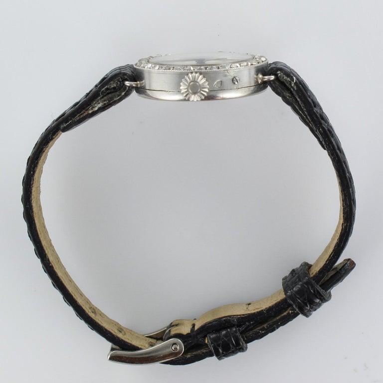 1930s Art Deco French Diamond Platinum Mechanical Ladies Watch For Sale 10
