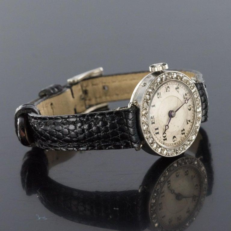 Women's 1930s Art Deco French Diamond Platinum Mechanical Ladies Watch For Sale