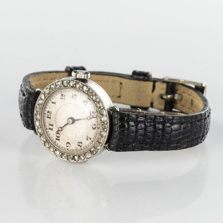 1930s Art Deco French Diamond Platinum Mechanical Ladies Watch For Sale 1
