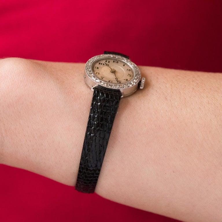 1930s Art Deco French Diamond Platinum Mechanical Ladies Watch For Sale 2