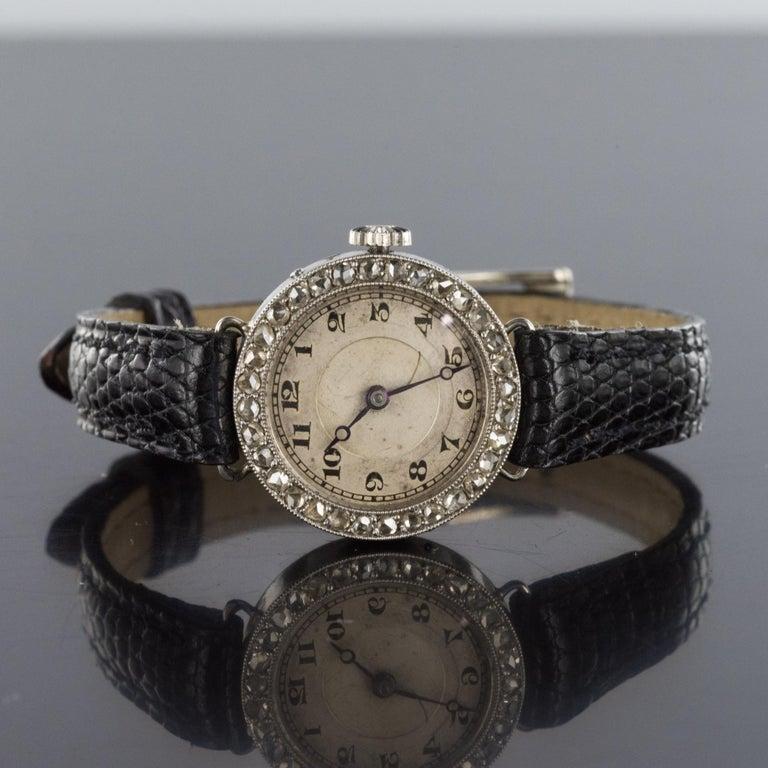 1930s Art Deco French Diamond Platinum Mechanical Ladies Watch For Sale 3