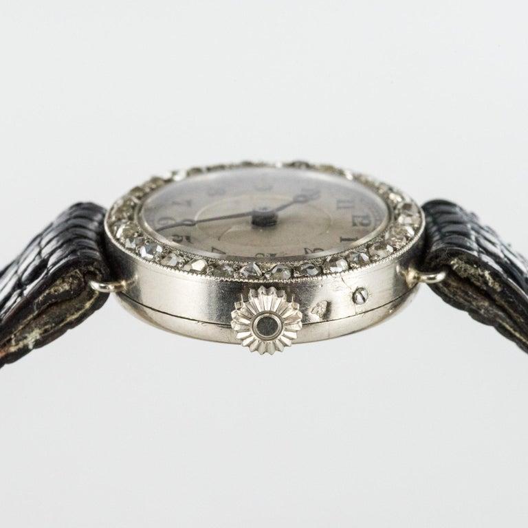 1930s Art Deco French Diamond Platinum Mechanical Ladies Watch For Sale 4