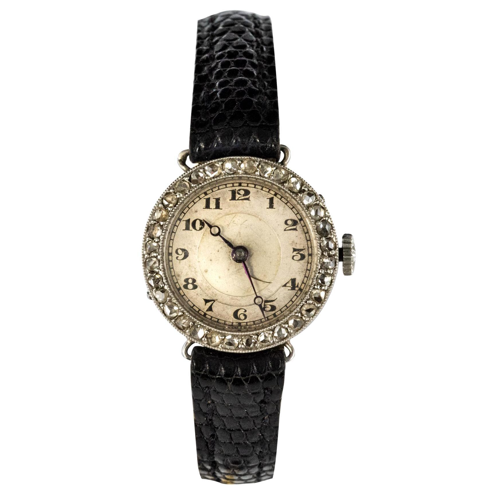 1930s Art Deco French Diamond Platinum Mechanical Ladies Watch