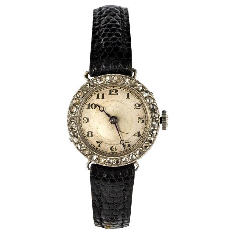 1930s Art Deco French Diamond Platinum Mechanical Ladies Watch For Sale