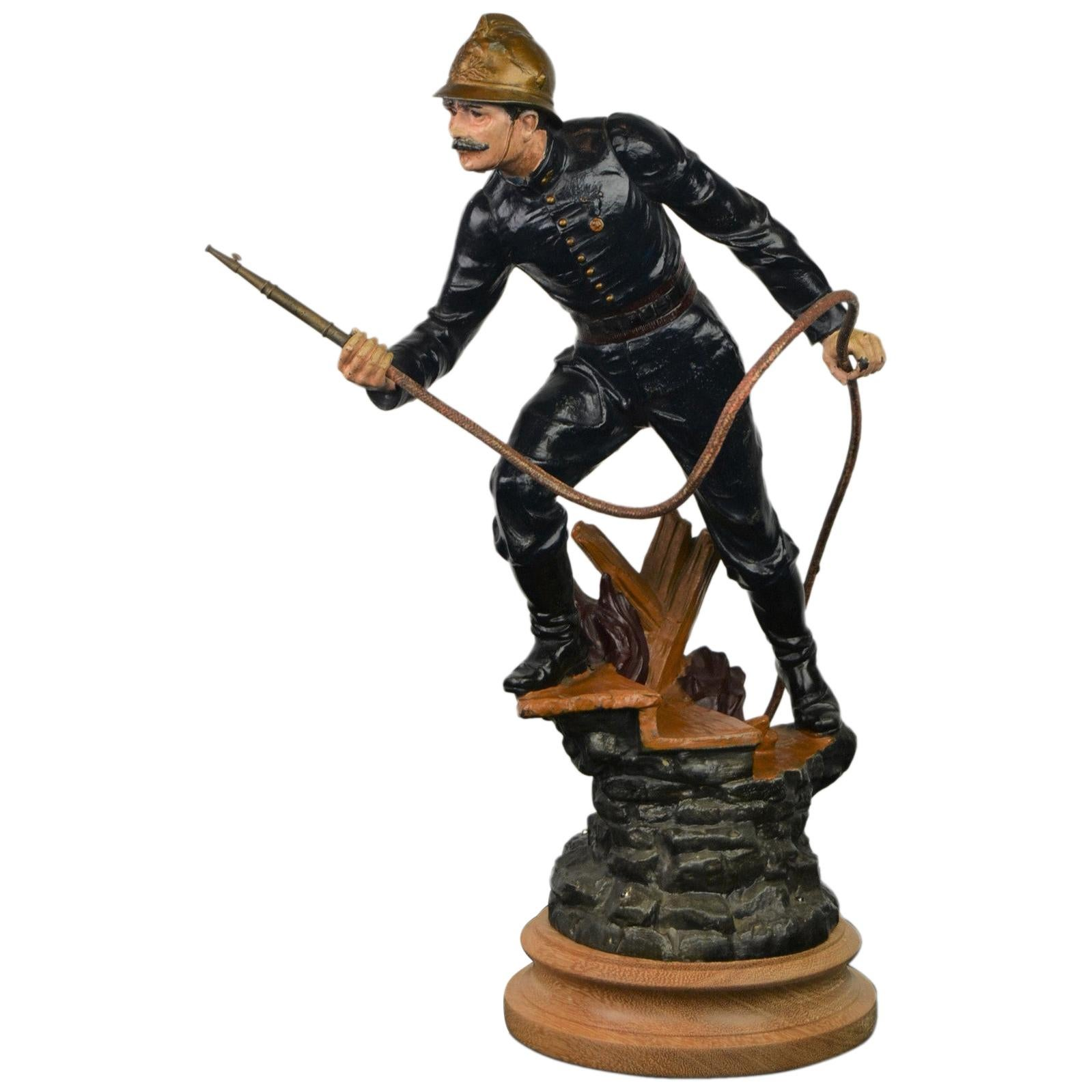 1930s French Fireman Firefighter Trophy Statue