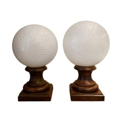 1930s French Glass Pharmacy Apothecary Countertop Globes