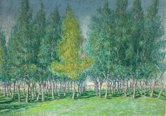 Very Large 1930's French Impressionist Signed Oil - Avenue of Green Wispy Trees
