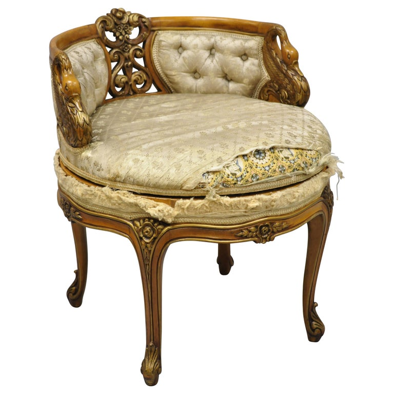 Incredible 1930S French Louis Xv Style Swan Carved Swivel Vanity Bench Seat Chair Ncnpc Chair Design For Home Ncnpcorg