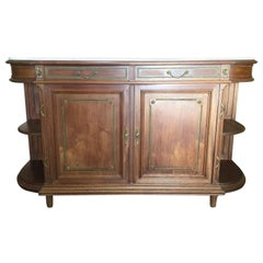 1930s French Louis XVI-Style Walnut Credenza with Carrara Marble top