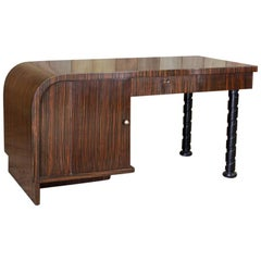 1930s French Macassar Ebony Desk